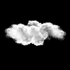 White cloud isolated over black background