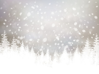 Vector winter scene with snowfall and forest background.