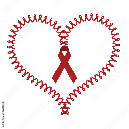World Aids Day Red Symbols Shaping A Heart Vector Illustration