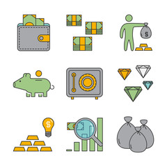 Line icons for banking and investment. Vector linear set