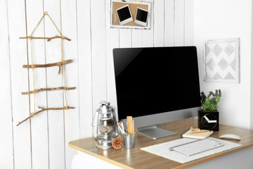 Workplace with Scandinavian interior design. Retro design concept