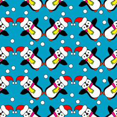 Seamless Christmas vector background with ornamental snowflakes and penguins