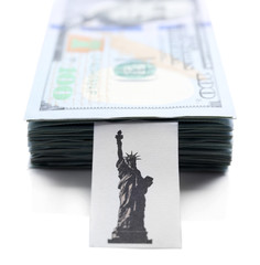 Pack of American dollars, isolated on white. Saving concept