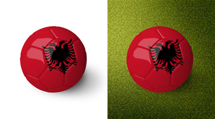 3d realistic soccer ball with the flag of Albania on it isolated on white background and on green soccer field. See whole set for other countries.