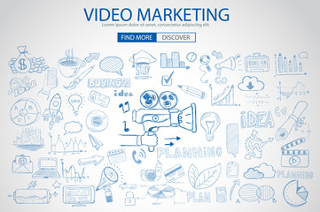 Video Marketing concept with Doodle design style