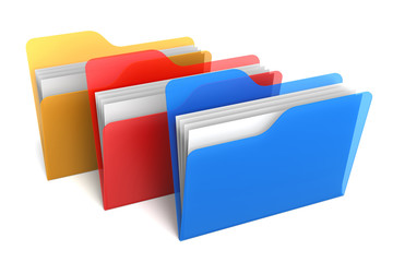 Transparent Color Folders and Files. 3D Rendering