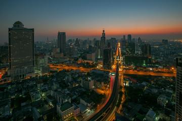 sky scrapper scene of bangkok thailand capital before the dawn