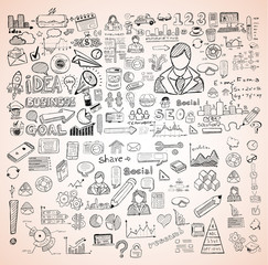 Business doodles Sketch set : infographics elements isolated,