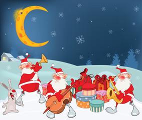 Illustration of Cute Santa Claus Music Band and Christmas Gifts