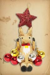 Reindeer in the Christmas card brown paper