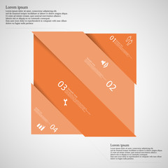 Infographic template with orange rectangle askew divided to four parts