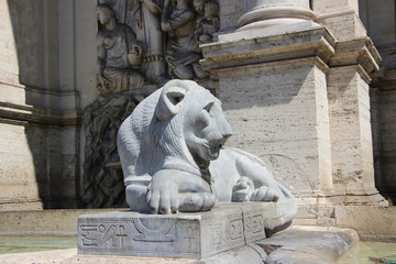 Rome,Italy,Fontana del Mose,fragment,lion.