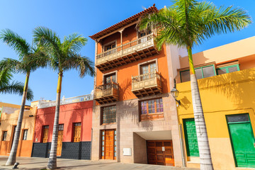 Printed roller blinds Havana Colourful houses and palm trees on street in Puerto de la Cruz town, Tenerife, Canary Islands, Spain