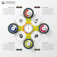 Modern infographics options banner with colorful clock. Vector illustration