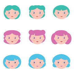 Flat design female with fantasy hair colors avatars isolated on white background.