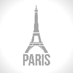 Eiffel Tower Dot silhuette. Halftone Dotwork Vector illustration