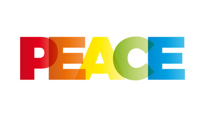 The word peace. Vector banner with the text colored rainbow.