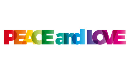 The word peace and love. Vector banner with the text colored rai