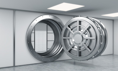3D rendering of a big open round metal safe with locked lock-box