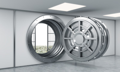 3D rendering of a big open round metal safe in a bank depository