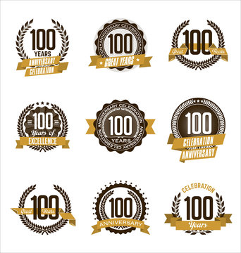 Vector Set of Retro Anniversary Gold Badges 100th Years Celebrating