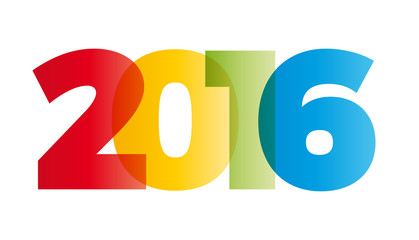 The word 2016. Vector banner with the text colored rainbow. Fototapete