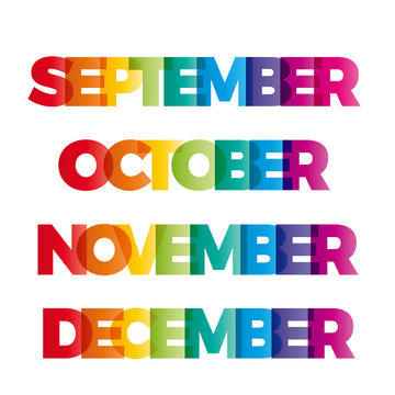 The words September, October, November, December. Vector banner