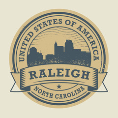 Grunge rubber stamp with name of Raleigh, North Carolina