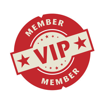 Stamp or label with the text VIP member