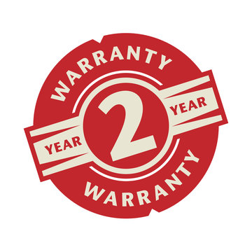 Stamp or label with the text 2 year warranty