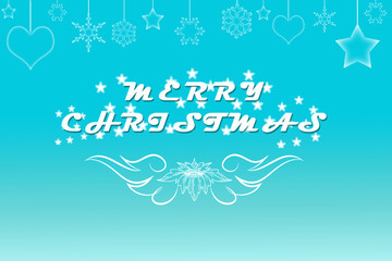 Elegant pale blue Merry Christmas background with sparkling stars illustration