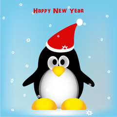 Cute penguin on winter background