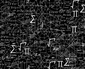 Math scientific vector seamless pattern with formulas, figures, plots shuffled together