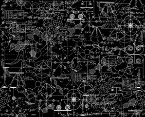 Scientific vector seamless pattern with math and physical formulas, chemistry plots and graphic schemes, shuffled together. Endless math texture. You can use any color of background