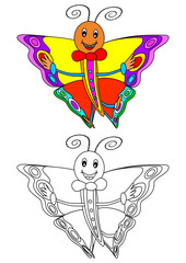 Smiling colorful butterfly as a coloring book for kids - vector svg