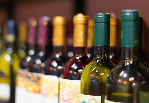 Wine bottles in the wine store.