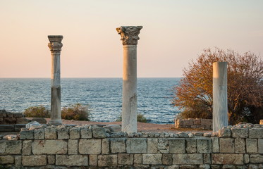 Ruins of the ancient Tauric Chersonesos in Sevastopol at sunset