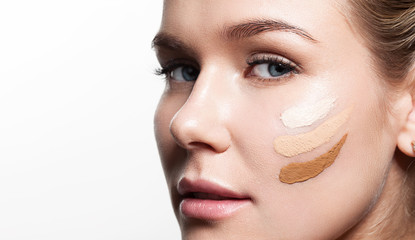 Woman with different shades of foundation on your face
