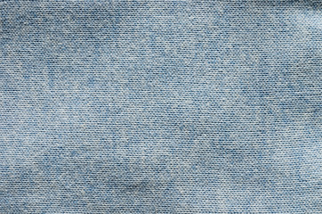 Close up of blue sweater fabric