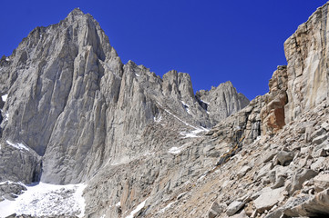 Mount Whitney, California 14er, state high point and highest peak in the lower 48 states, located in the Sierra Nevada Mountains