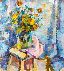 Oil painting still life with  flowers On  Canvas with  texture  in the grayscale