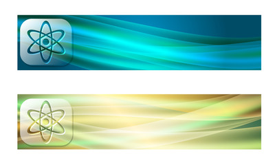 Set of two banners with waves and transparent science symbol