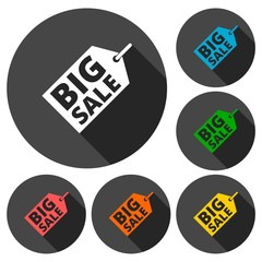 Big sale icons set with long shadow