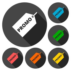 Promo icons set with long shadow