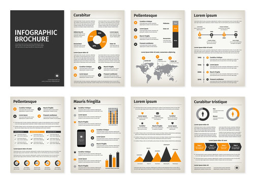 Vintage business A4 brochures with infographic vector elements.