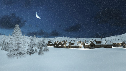 Dreamlike winter scene. Snowbound traditional european township and snowy firs at snowfall night with a half moon in the sky