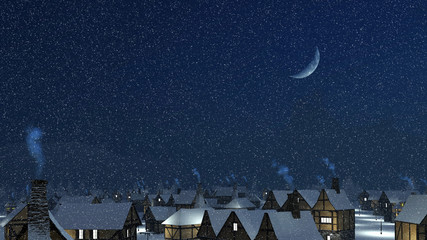 Dreamlike winter townscape. Snow-covered roofs with smoking chimneys at snowfall night with a half moon in the sky.