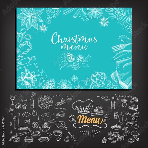 Vector christmas restaurant brochure menu design vector holiday vector christmas restaurant brochure menu design vector holiday template with xmas hand drawn stopboris Images