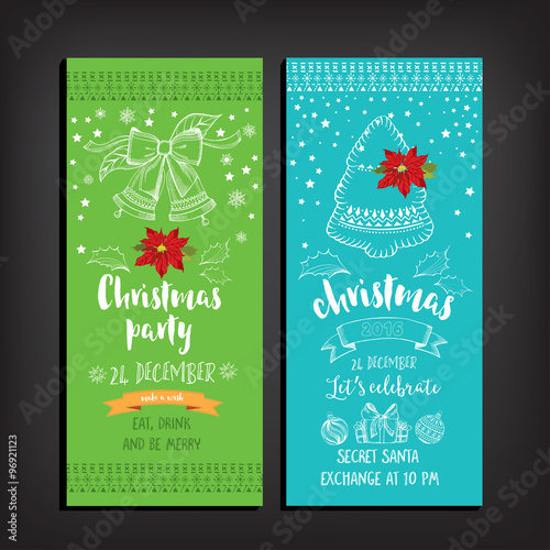 Vector christmas party invitation with toys. Holiday background and ...