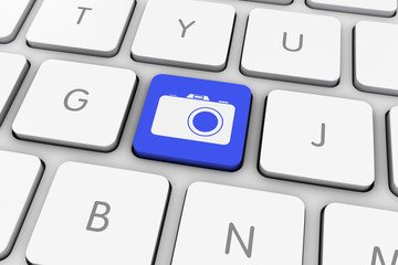 Blue Photo Camera Icon Computer Key on White Keyboard
